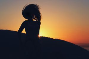 orange sky women outdoors sunset silhouette women