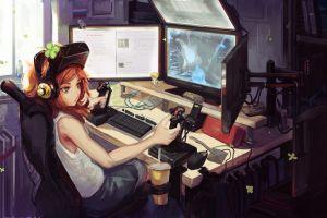 original characters headsets redhead artwork video games digital art room vivian james computer interfaces