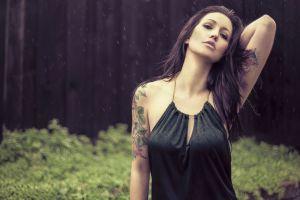 outdoors model arms up rain tattoo forest women outdoors women