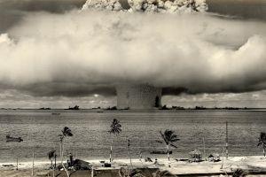 pacific ocean explosion bikini atoll atomic bomb palm trees nuclear vintage military