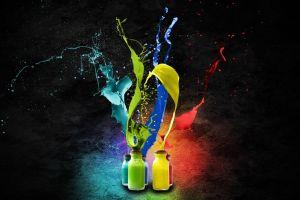 paint splatter artwork black background splashes texture simple background digital art liquid colorful bottles