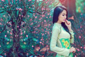painted nails women women outdoors asian model