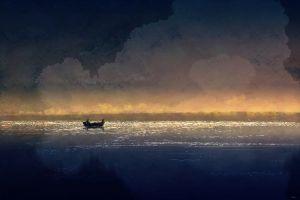 painting sea artwork boat