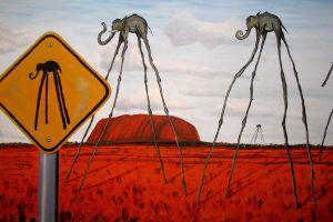 painting surreal artwork clouds nature hills salvador dalí elephant signs fantasy art