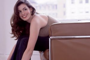 pants brown eyes brunette chair side view women smiling wavy hair jeans celebrity anne hathaway actress sitting