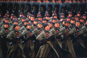 parade bayonette military red army men soldier rifles