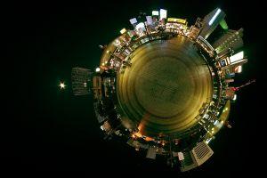 pavements panoramic sphere building night