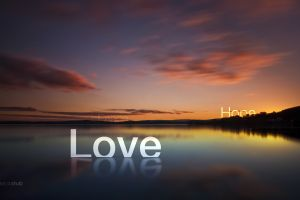peace lake nature clouds typography water reflection love sunlight digital art landscape