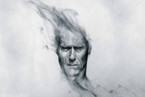 pencils monochrome clint eastwood movies drawing