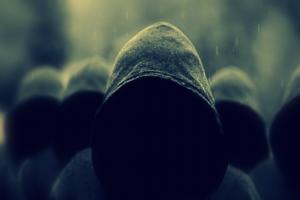 people dark rain hoods