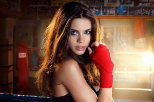 photo manipulation green eyes boxing brunette gloves face women long hair sara sampaio