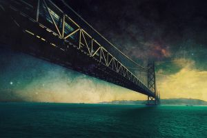 photo manipulation stars bridge digital art