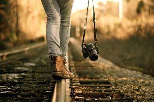 photographer railroad track women outdoors canon railway camera women