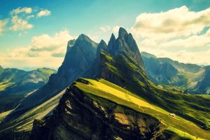 photography trees dolomites (mountains) green landscape nature hills ridges clouds mountains sky rocks