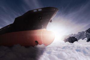 photomontage clouds conceptual ship