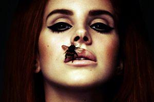 photomontage singer lana del rey redhead women bees