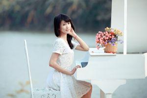 piano brunette white dress brown eyes flowers women asian sitting