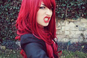 pierced lips redhead niky von macabre women outdoors face model blue eyes lolina green piercing women bloodviktoria