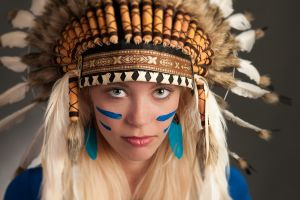 piercing blonde women headdress