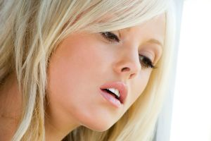pink lipstick portrait face open mouth blonde women looking away model