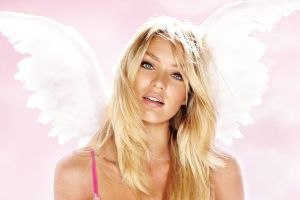 pink underwear women candice swanepoel blonde victoria's secret model face blue eyes