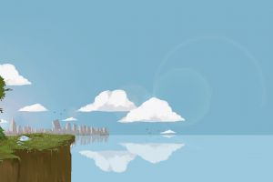 pixel art landscape ruin cliff digital art