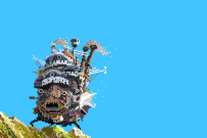 pixels pixel art love love howl's moving castle studio ghibli