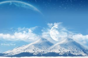 planet digital art space mountains snow