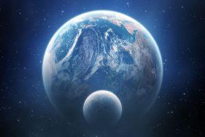 planet earth digital art moon space art space