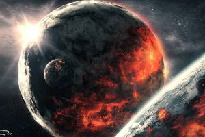 planet galaxy space art universe digital art apocalyptic space