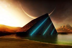 planet lake artwork space art cube mountains moon cyan glowing orange digital art sunset water abstract crescent moon