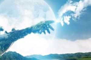 planet landscape nature artwork digital art fantasy art trees hands