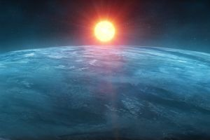 planet space space art digital art blue sun