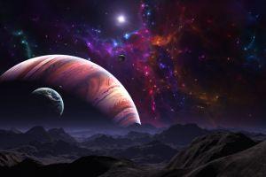 planet stars space landscape nebula artwork fantasy art