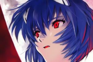 plugsuit anime girls blue hair red eyes ayanami rei neon genesis evangelion sitting moon face