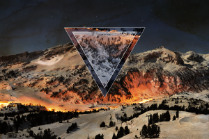 polyscape snow digital art mountains triangle sky nature