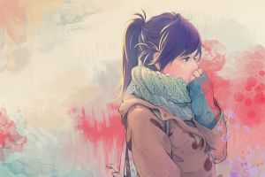 ponytail scarf original characters anime girls anime