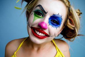 pornstar makeup women blue background face lexi belle clowns
