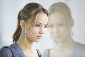 portrait actress jennifer lawrence women reflection glass blonde closeup