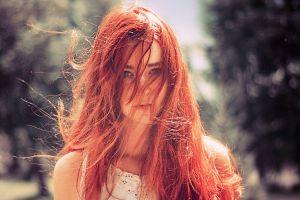 portrait green eyes women model women outdoors long hair outdoors redhead face hair in face