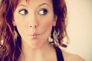portrait mouth redhead looking away women model