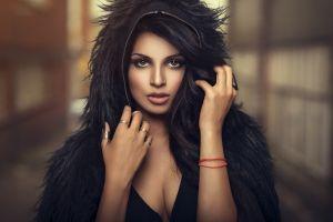 portrait women rings indian hoods face model