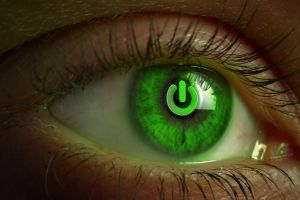 power buttons eyes green eyes