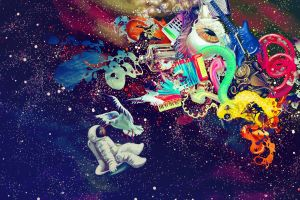 psychedelic digital art colorful space astronaut abstract
