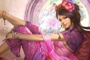 purple diao chan women brunette brown eyes sideboob flowers dynasty warriors video games artwork