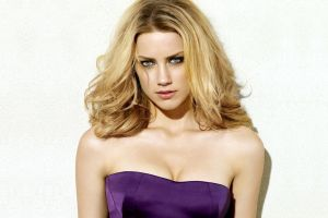 purple dresses eyes looking at viewer face women dress closeup cleavage amber heard purple blonde white background