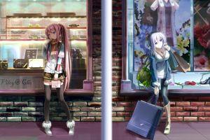 purple eyes pink hair original characters anime girls thigh-highs blue eyes ponytail anime purple hair long hair