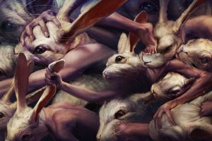 rabbits fantasy art people artwork creepy