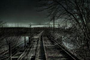 railway fence dark power lines dark