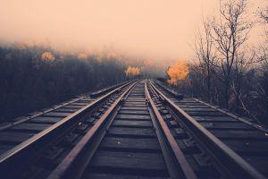 railway railroad track landscape